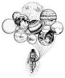 Astronaut with Planet Balloons Sticker