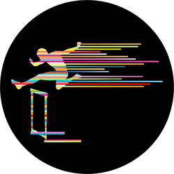 Athlete Man Hurdling In Track And Field Made Of Stripes Sticker