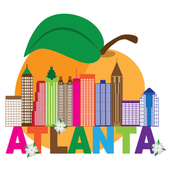 Atlanta Georgia City Skyline Abstract Peach Sticker