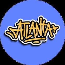 Atlanta Georgia Lettering On Blue Sticker