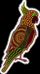 Australia Aboriginal Cockatoo Dot Painting Sticker
