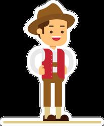 Austria Cartoon Man In National Dress Clothing Sticker