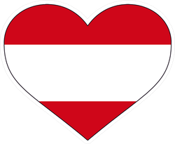 Austria Country Flag Shaped Heart Sticker