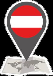 Austria Map And Pointer Sticker