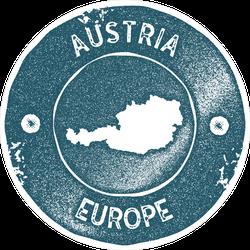 Austria Map Vintage Stamp Circle Sticker