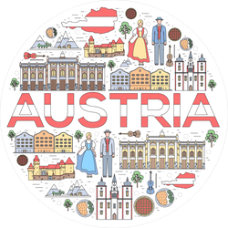 Austria Travel Vacation Guide Circle Sticker