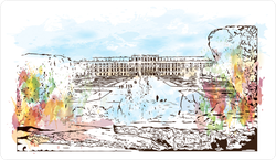 Austria's Capital Watercolor Splash Sketch Sticker