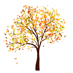 Autumn Birch Tree With Falling Leaves Sticker