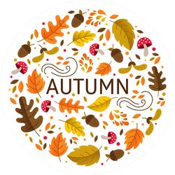 Autumn Circle with Fall Elements Sticker
