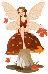 Autumn Fairy Sitting On Mushroom Sticker