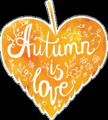 Autumn Is Love Orange Watercolor Leaf Sticker