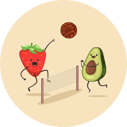 Avocado And Strawberry Play Beach Volleyball Sticker