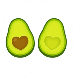 Avocado Halves With Heart Shaped Pit Sticker