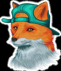 Awesome Fox Wearing Backward Hat Sticker