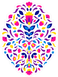 Aztec Embroidery Mexican Tribal Ornament Sticker