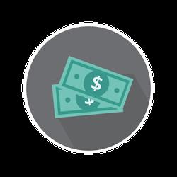 2 Dollar Bills Icon Sticker
