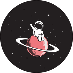 Baby Astronaut Sits On Saturn Sticker