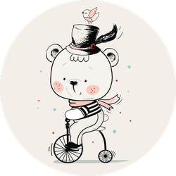 Baby Bear Ridding On A Bicycle Sticker