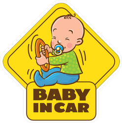 Baby Boy in Car Sticker