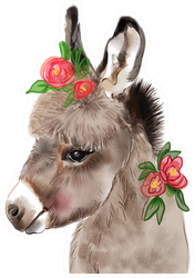 Baby Donkey Watercolor In Flowers Sticker