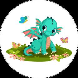 Baby Dragon Cartoon With Butterflies Sticker