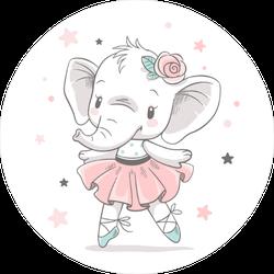 Baby Elephant Ballerina Sticker