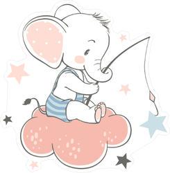 Baby Elephant Fishing for Stars on a Cloud Sticker