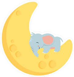 Baby Elephant on Crescent Moon Sticker
