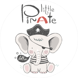 Baby Elephant Pirate Sticker