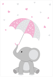 Baby Elephant With A Pink Umbrella Sticker