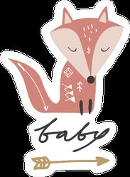 Baby Fox Sticker with Arrow
