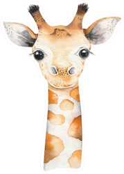 Baby Giraffe Watercolor Cartoon Sticker