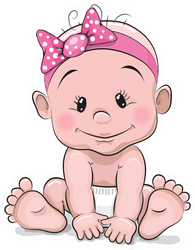 Baby Girl in Pink Headband Sticker