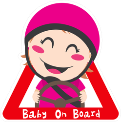 Baby Girl On Board Red Triangle Road Safety Sticker