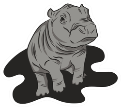 Baby Hippo Logo Sticker