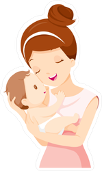 Baby In a Tender Embrace Of Mother Sticker