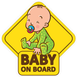 Baby in Green Romper on Board Sticker