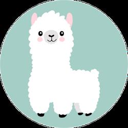 Baby Llama Circle Sticker