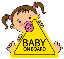 Baby On Board Pig Tail Girl Sticker
