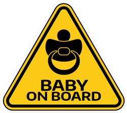 Baby On Board Sign With Child Pacifier Sticker