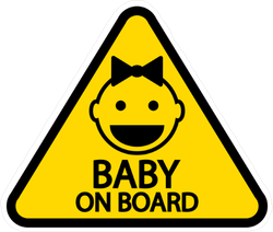 Baby with Hair Ribbon On Board Sticker