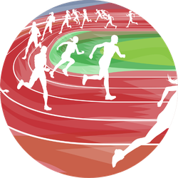 Background Of Runners Sprinting In A Race Around The Track Sticker