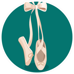 Ballet Shoe Pointes With Ribbon Sticker