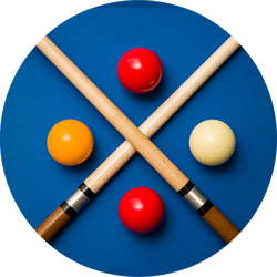 Balls And A Cue On The Table Of A Carom Billiard Sticker