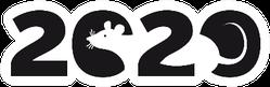 Banner Logo 2020 Happy New Year Rat Sticker