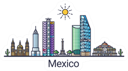 Banner Of Mexico City Skyline Illustration Sticker