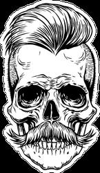 Barberman Skull With Mustache Sticker