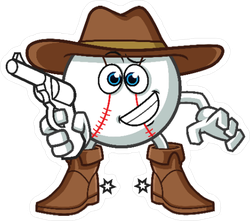 Baseball Cowboy Sticker