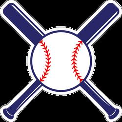 Baseball Crossed Bats With Ball Illustration Sticker