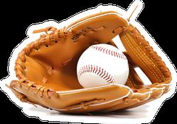 Baseball Equipment Mitt On White Background Sticker